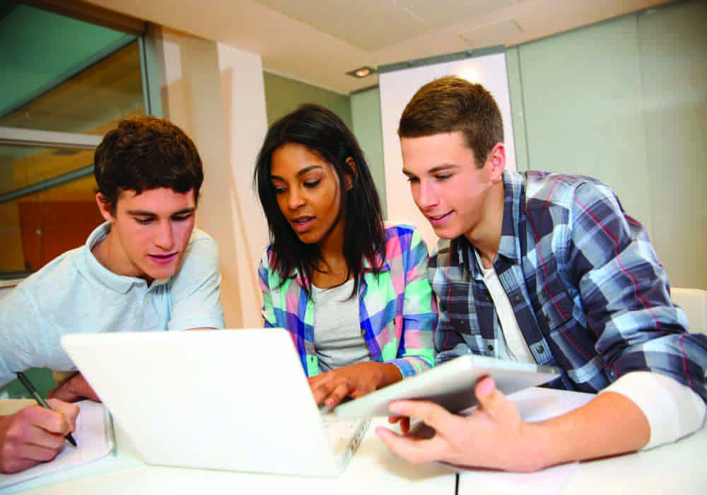 Students using online careers resources